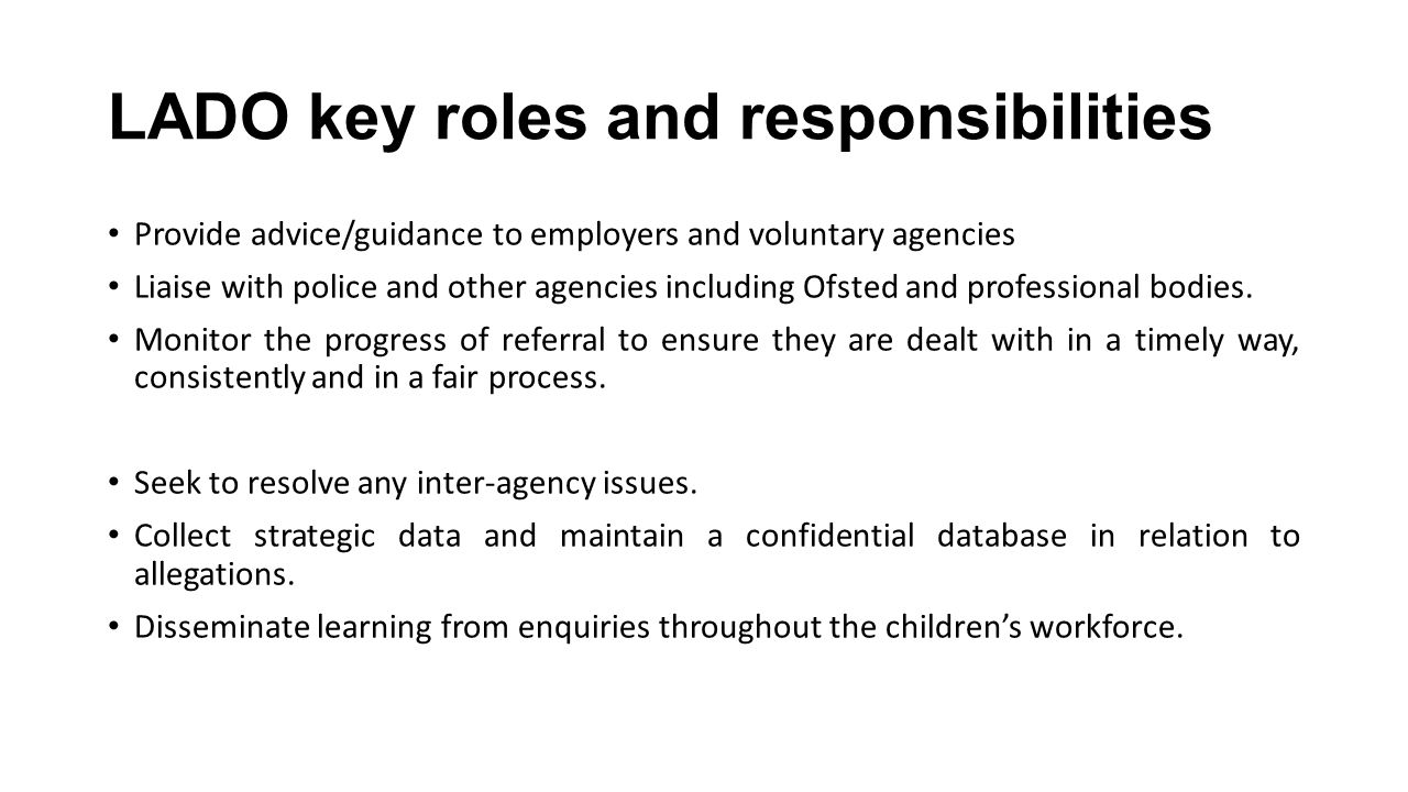 LADO key roles and responsibilities