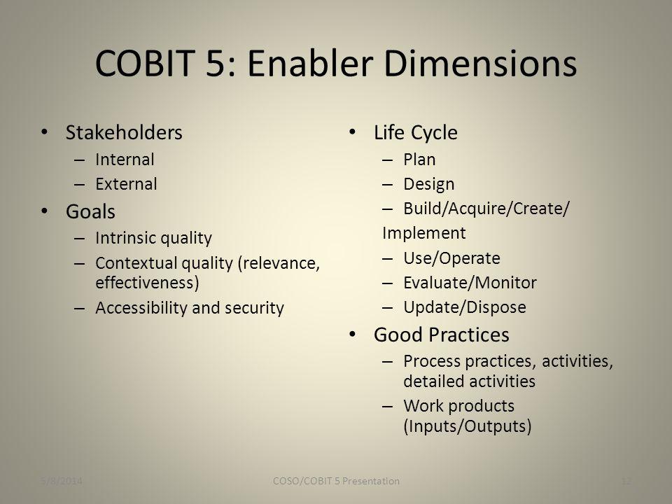 COBIT 5: Enabler Dimensions