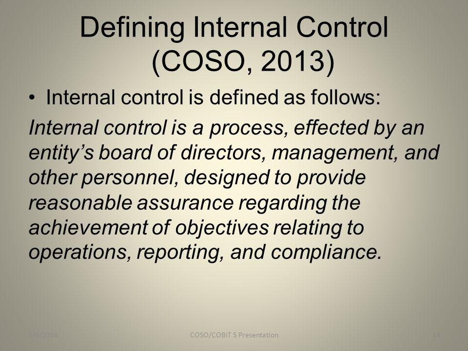 Defining Internal Control (COSO, 2013)
