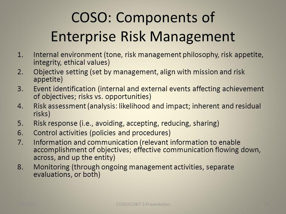 COSO: Components of Enterprise Risk Management