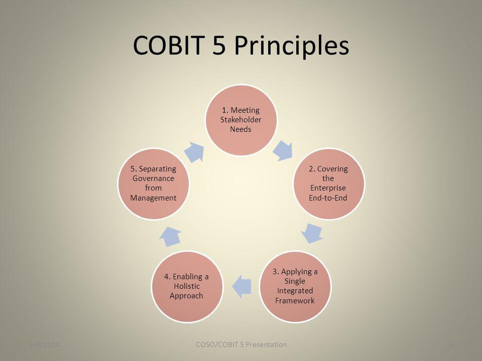 COBIT 5 Principles 5/8/2014 COSO/COBIT 5 Presentation