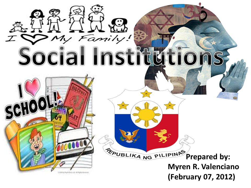 Social Institutions Prepared by: Myren R. Valenciano
