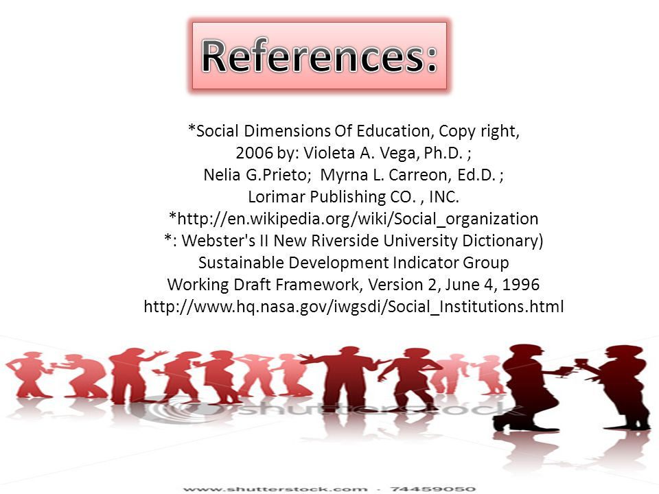 References: *Social Dimensions Of Education, Copy right,