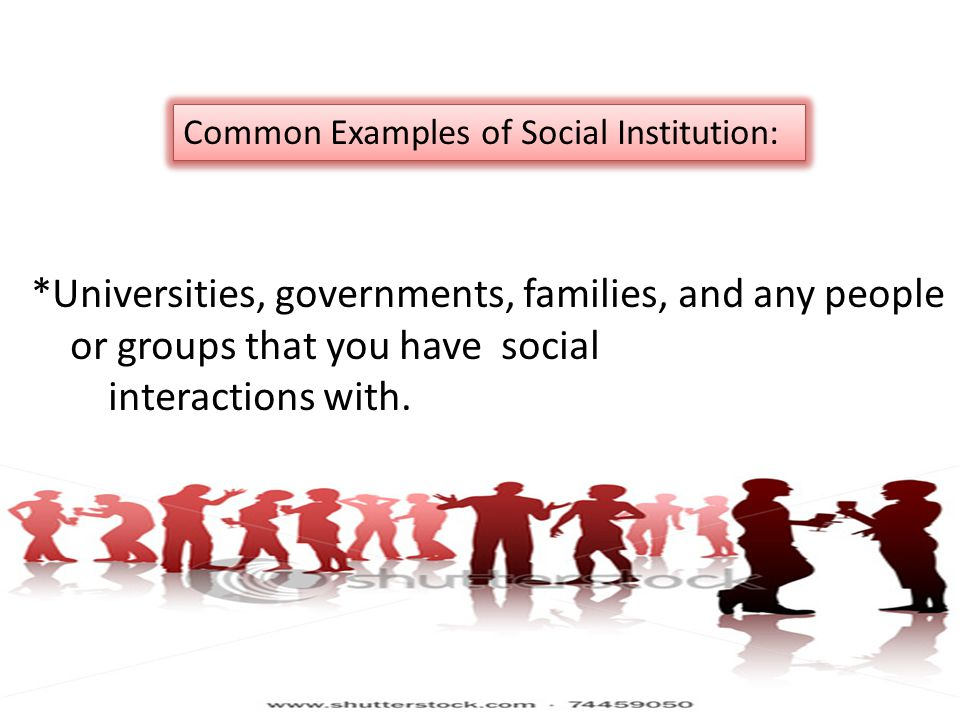 *Universities, governments, families, and any people