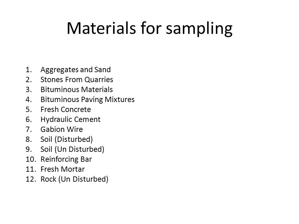 Materials for sampling