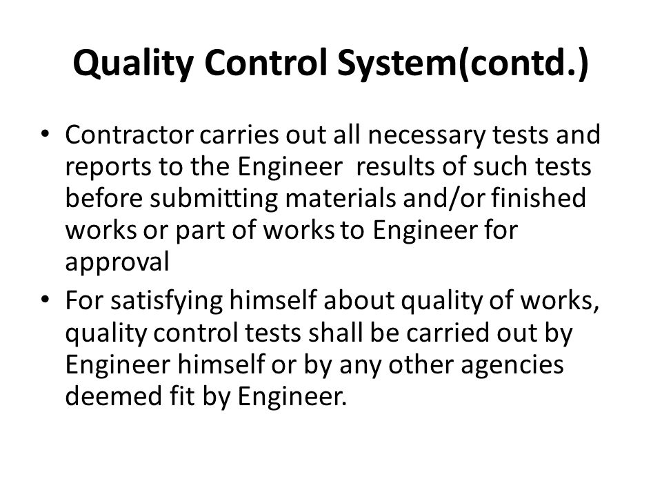 Quality Control System(contd.)