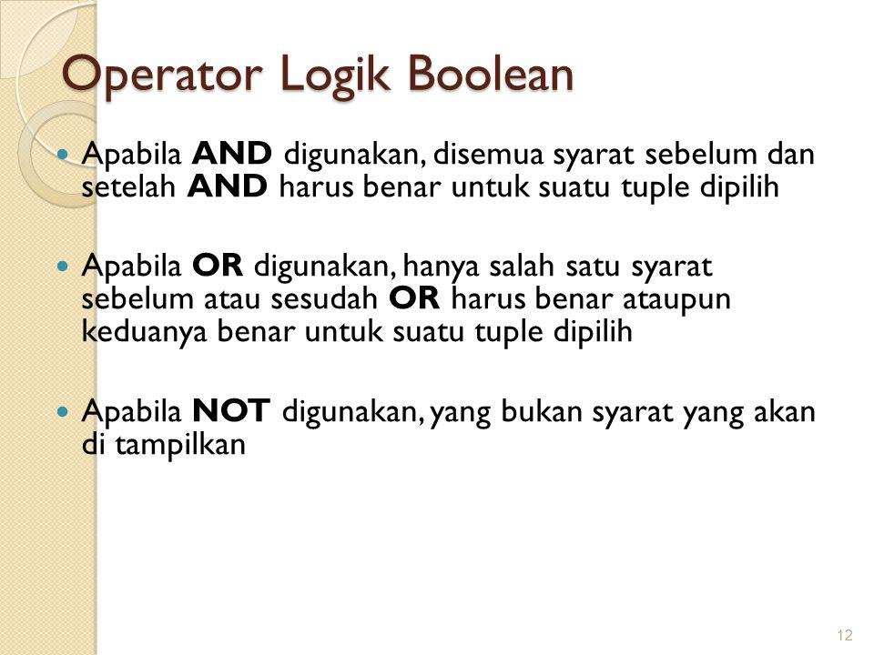 Operator Logik Boolean