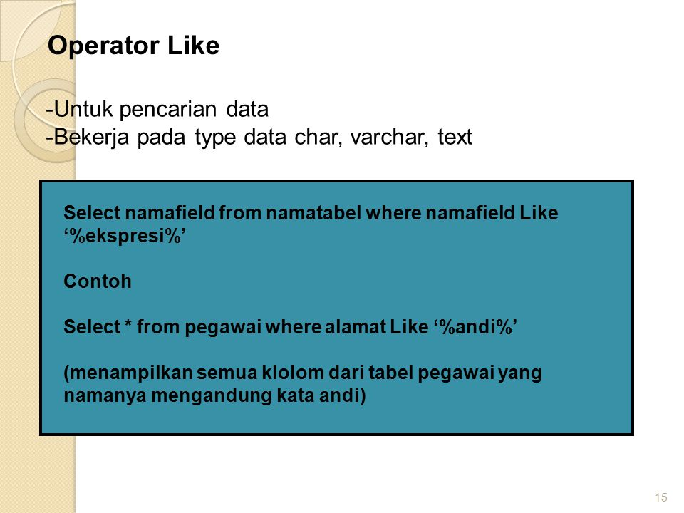 Operator Like Untuk pencarian data