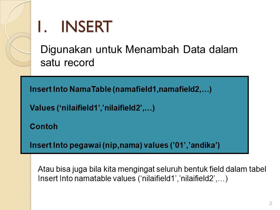 INSERT Digunakan untuk Menambah Data dalam satu record