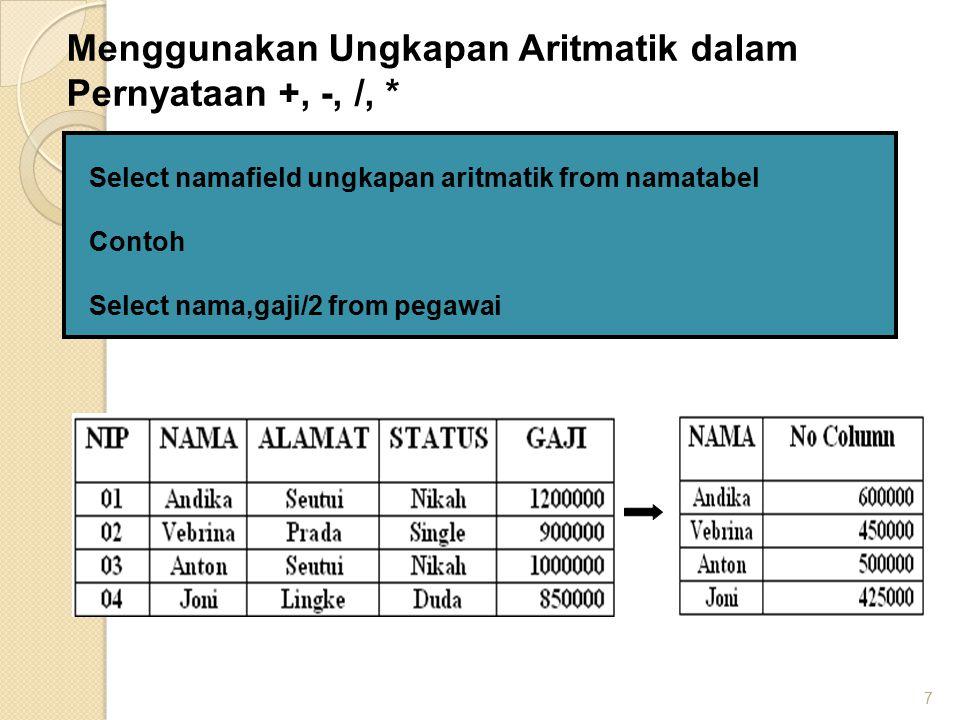 Menggunakan Ungkapan Aritmatik dalam Pernyataan +, -, /, *