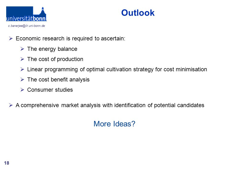 Outlook More Ideas Economic research is required to ascertain: