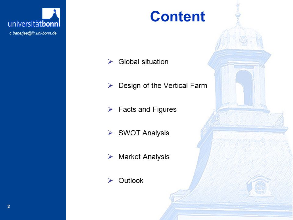 Content Global situation Design of the Vertical Farm Facts and Figures