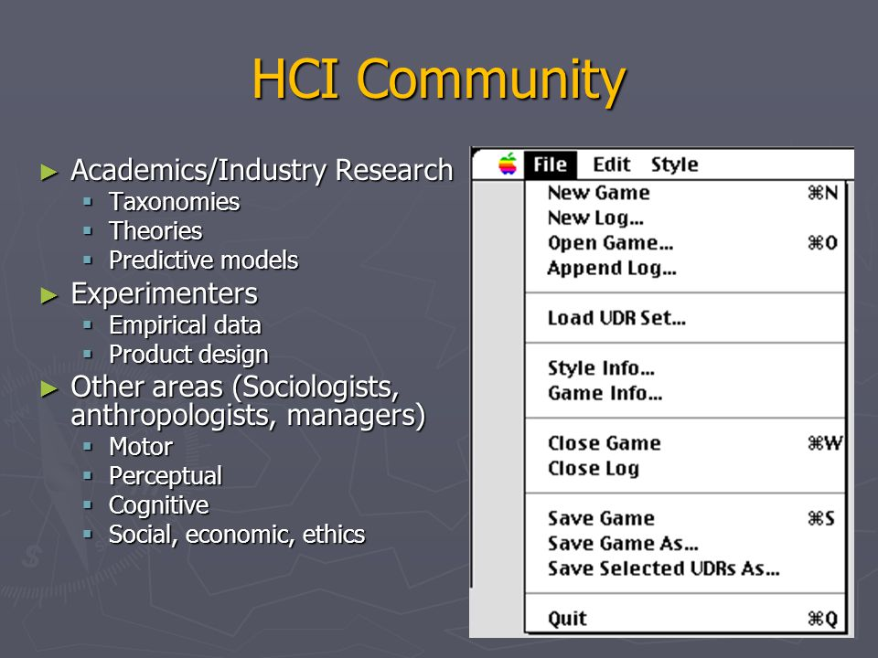 HCI Community Academics/Industry Research Experimenters