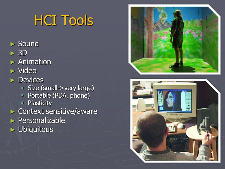 HCI Tools Sound 3D Animation Video Devices Context sensitive/aware