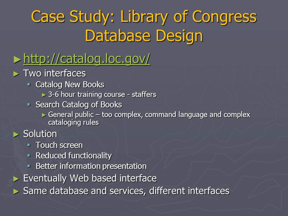 Case Study: Library of Congress Database Design