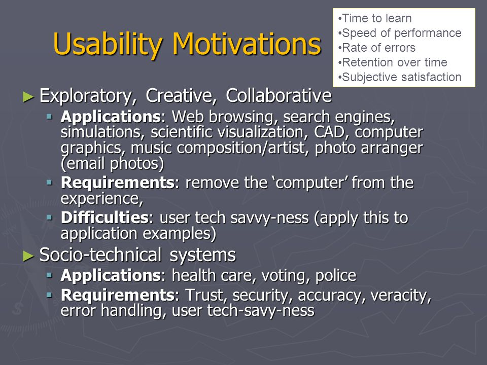 Usability Motivations