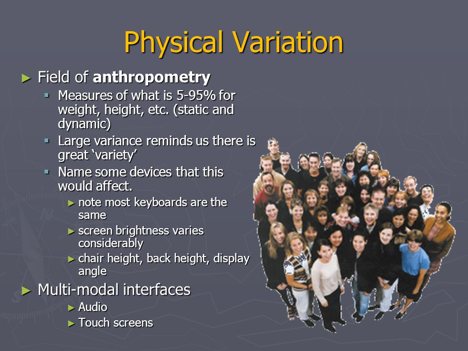 Physical Variation Field of anthropometry Multi-modal interfaces