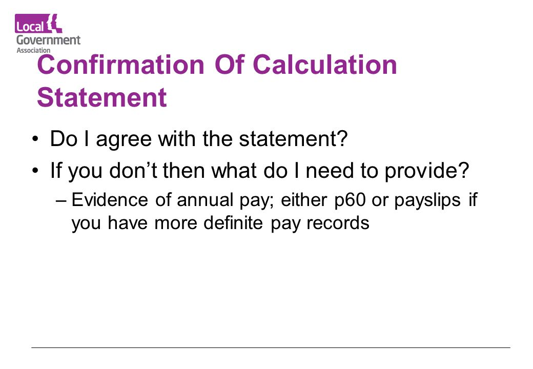 Confirmation Of Calculation Statement