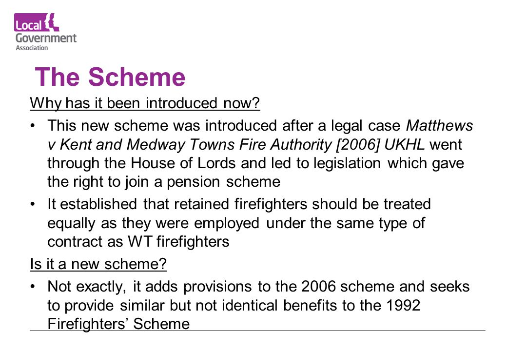 The Scheme Why has it been introduced now