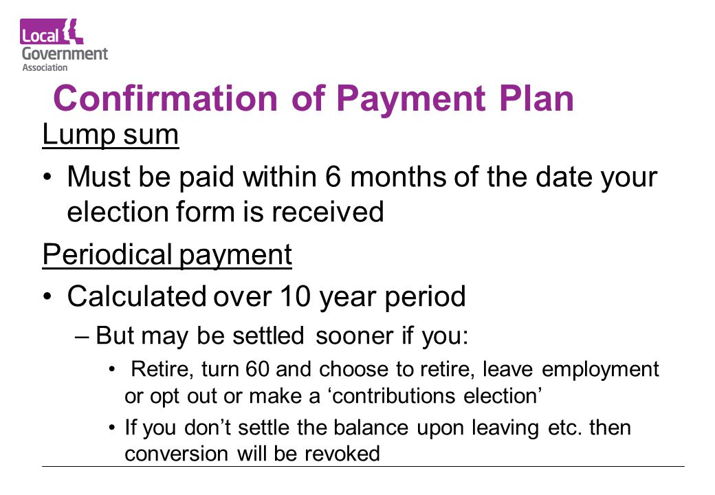 Confirmation of Payment Plan