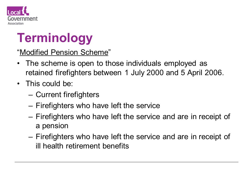 Terminology Modified Pension Scheme