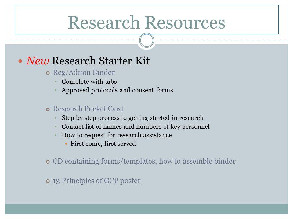 Research Resources New Research Starter Kit Reg/Admin Binder