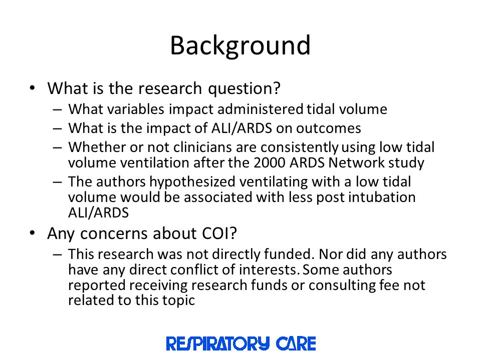 Background What is the research question Any concerns about COI