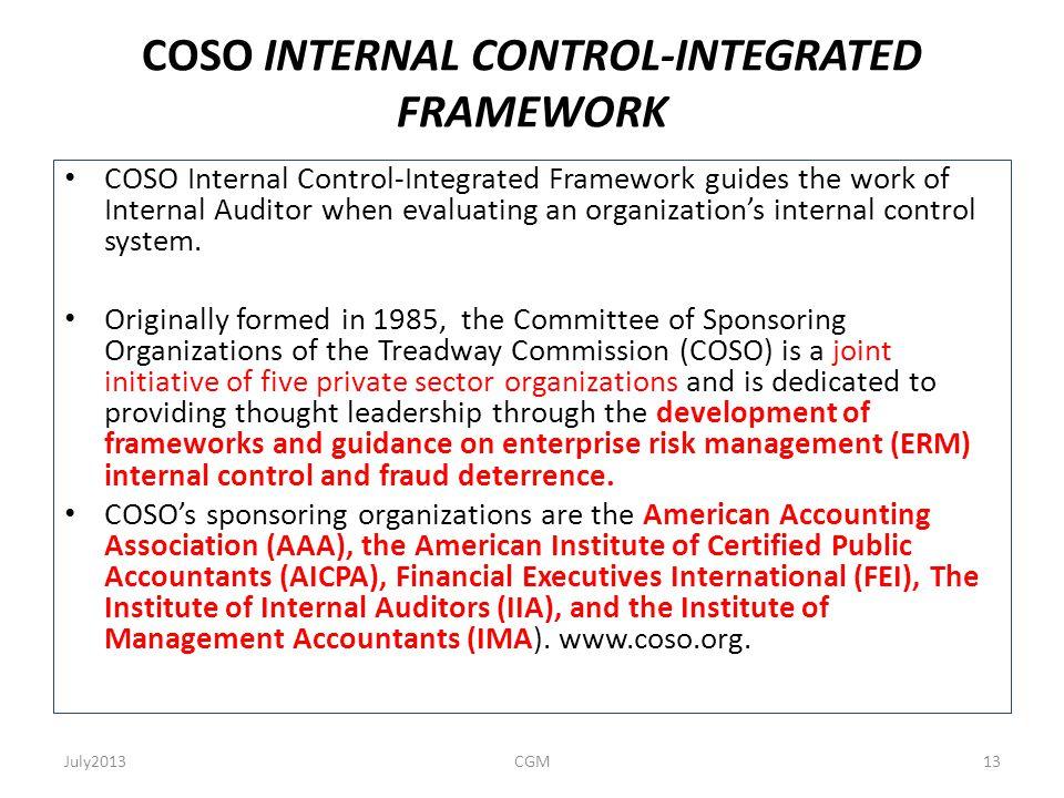 COSO INTERNAL CONTROL-INTEGRATED FRAMEWORK