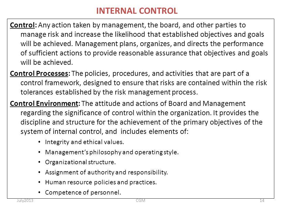 RISK MANAGEMENT & CONTTOLS