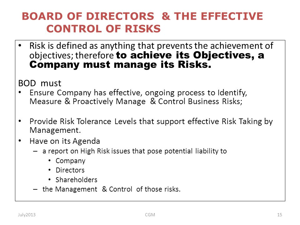 Apr 23,  · A board of directors can swing from overseer to active participant; either way, it's critical that the board and management agree on how they will work together to build a .