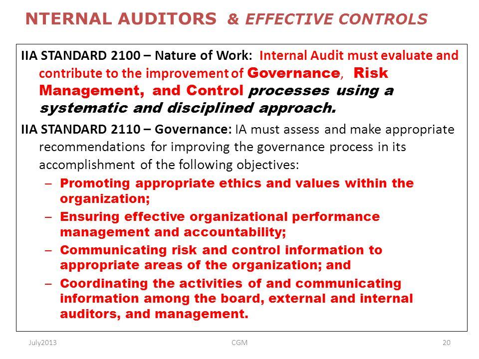 NTERNAL AUDITORS & EFFECTIVE CONTROLS