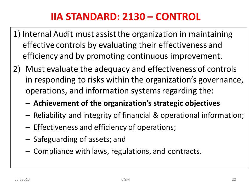 IIA STANDARD: 2130 – CONTROL