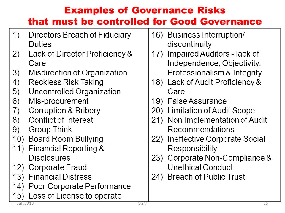 Examples of Governance Risks that must be controlled for Good Governance