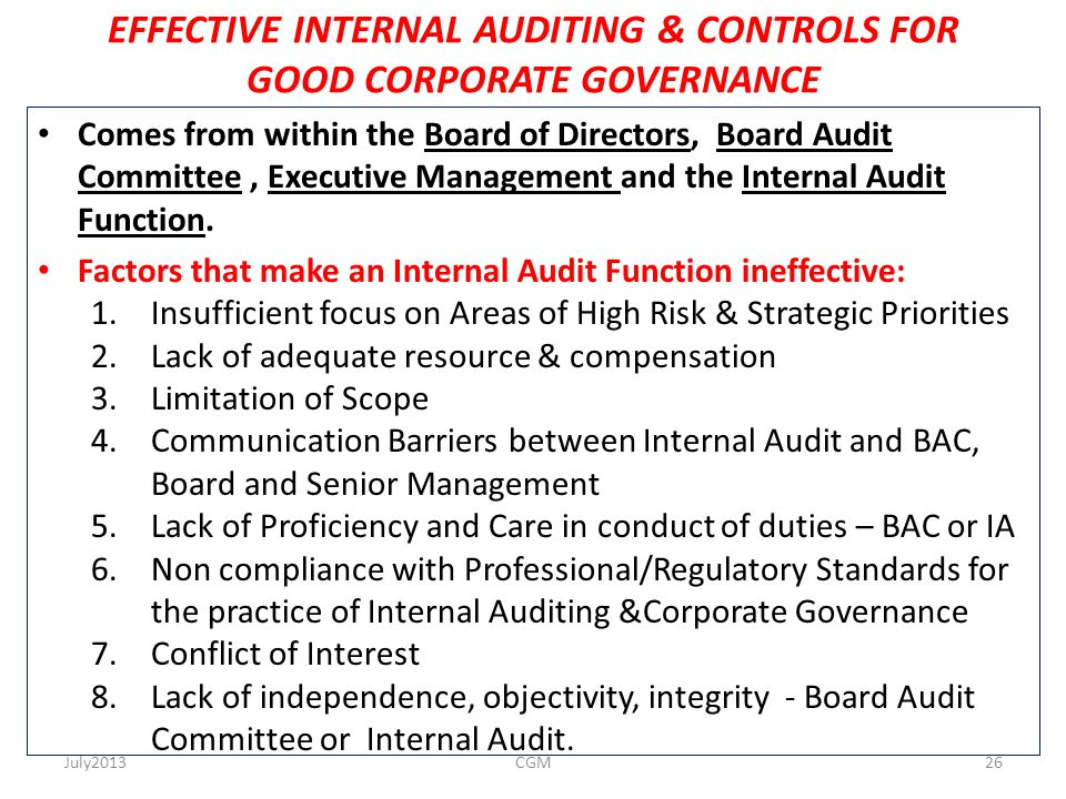 EFFECTIVE INTERNAL AUDITING & CONTROLS FOR GOOD CORPORATE GOVERNANCE