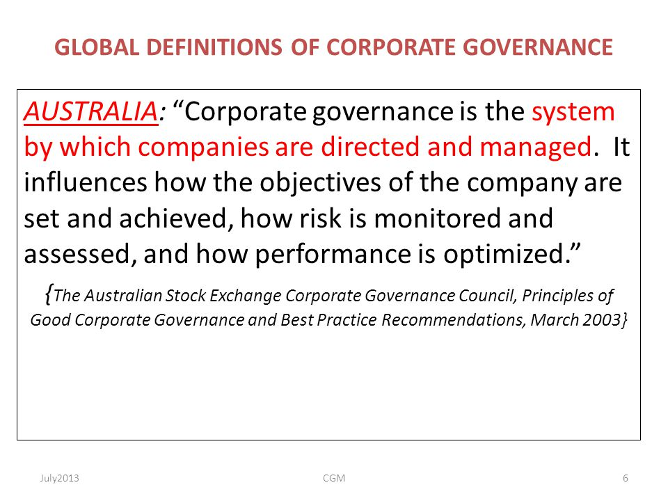 GLOBAL DEFINITIONS OF CORPORATE GOVERNANCE