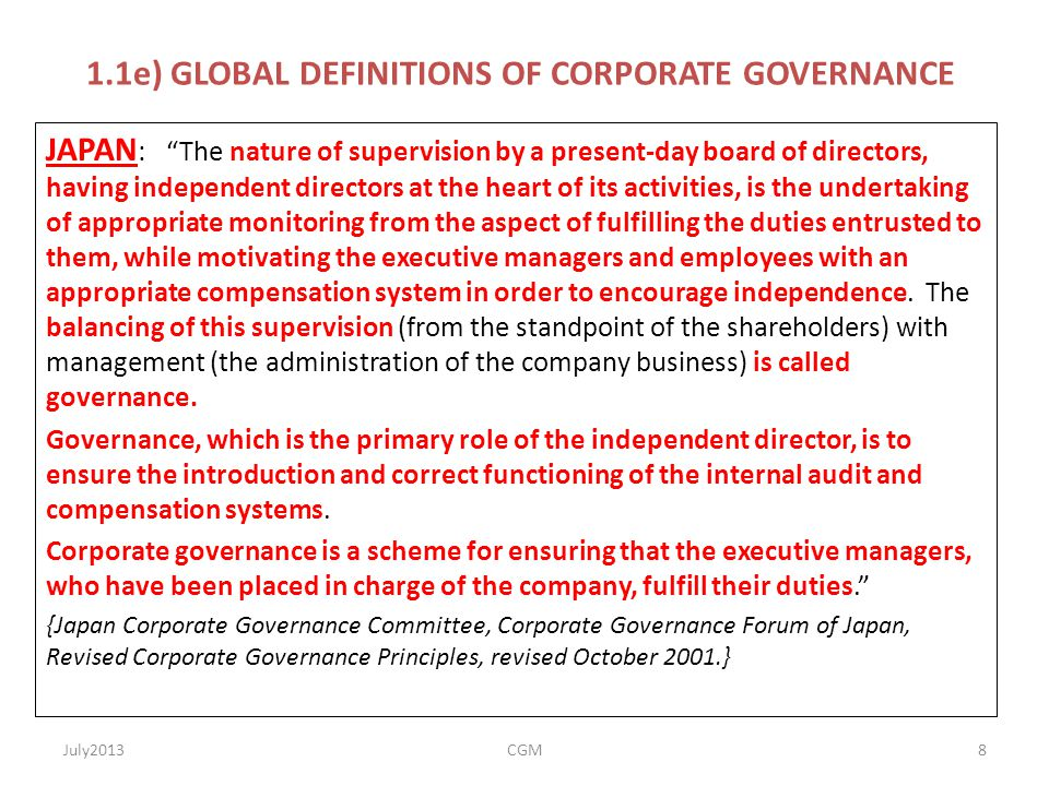 1.1e) GLOBAL DEFINITIONS OF CORPORATE GOVERNANCE