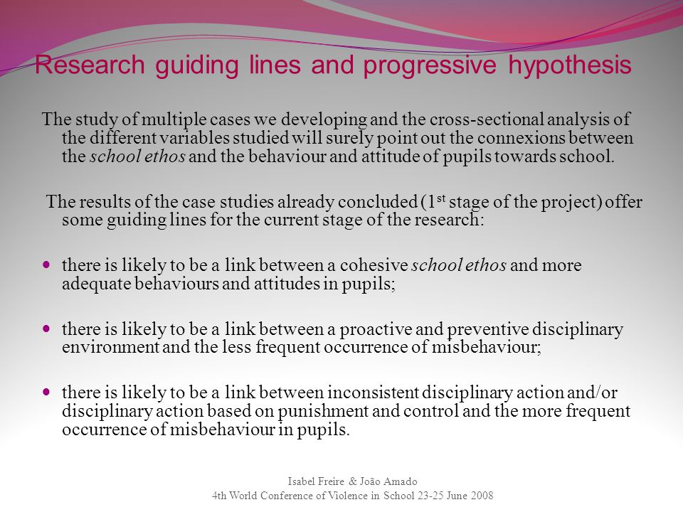 Research guiding lines and progressive hypothesis
