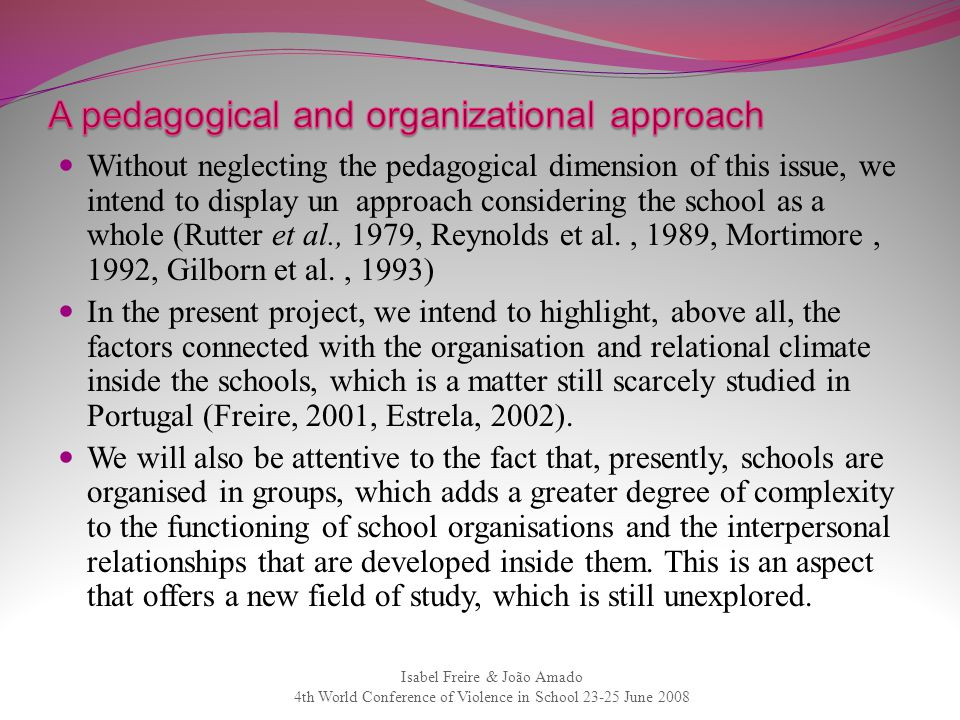 A pedagogical and organizational approach