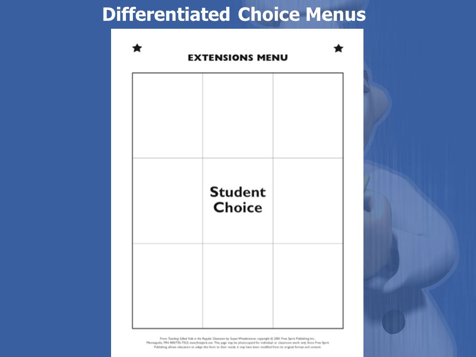 Differentiated Choice Menus