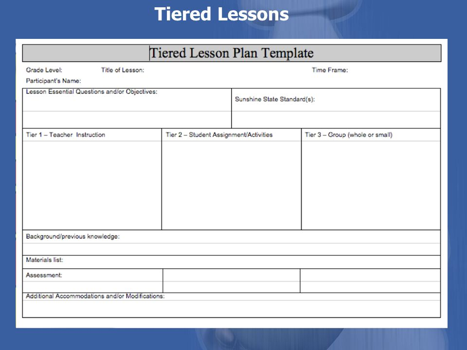 Tiered Lessons