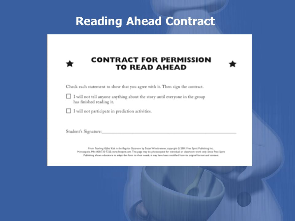 Reading Ahead Contract