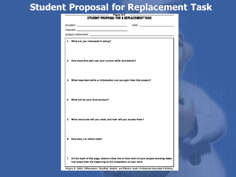 Student Proposal for Replacement Task