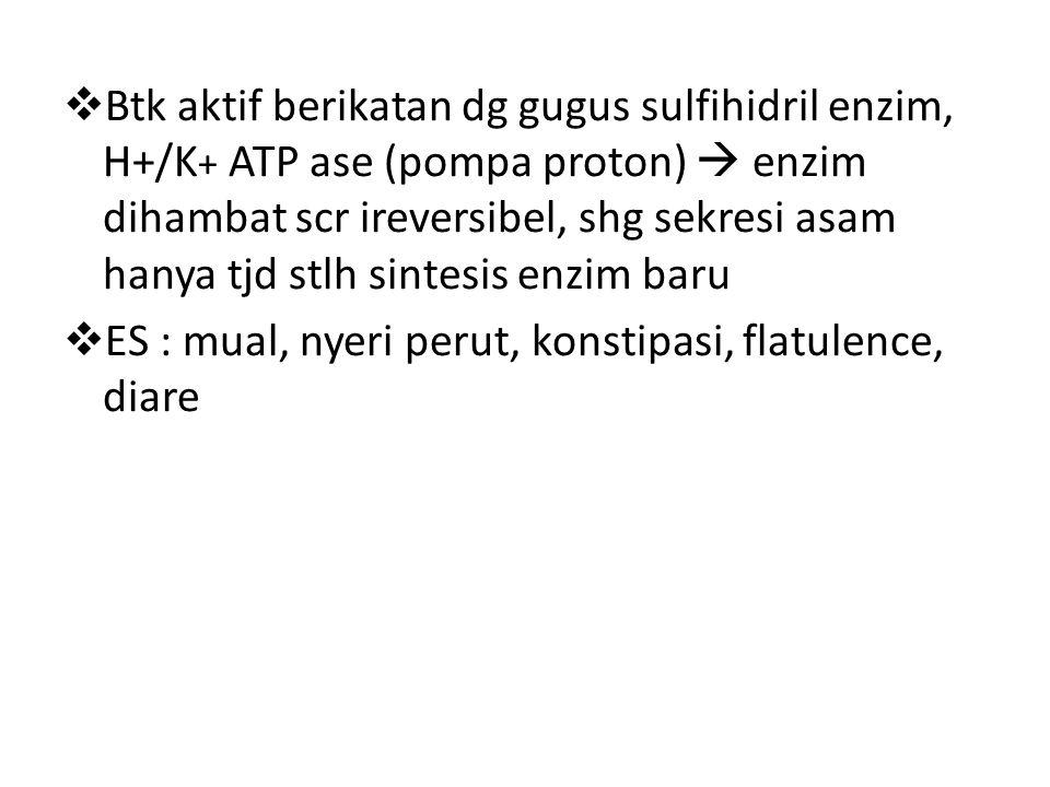 Btk aktif berikatan dg gugus sulfihidril enzim, H+/K+ ATP ase (pompa proton)  enzim dihambat scr ireversibel, shg sekresi asam hanya tjd stlh sintesis enzim baru