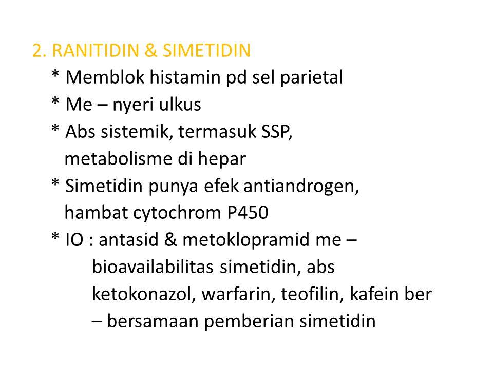 2. RANITIDIN & SIMETIDIN. Memblok histamin pd sel parietal