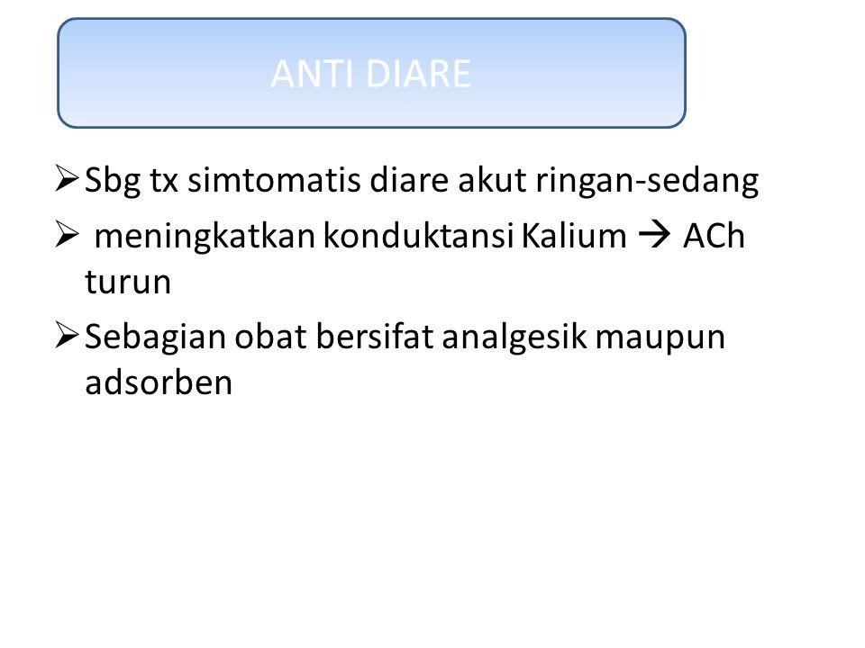 ANTI DIARE Sbg tx simtomatis diare akut ringan-sedang