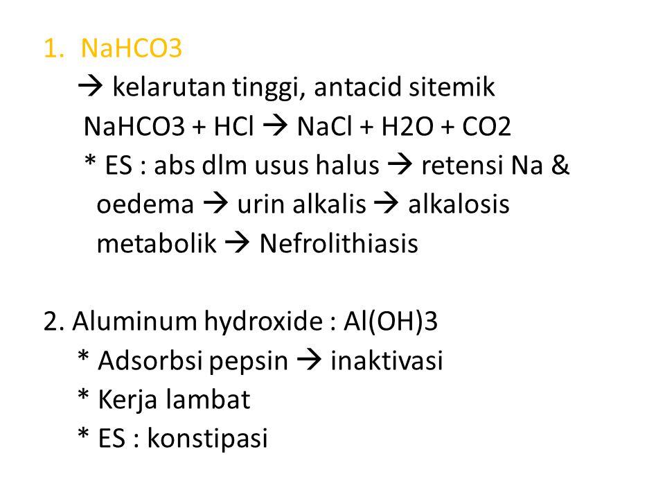 NaHCO3  kelarutan tinggi, antacid sitemik. NaHCO3 + HCl  NaCl + H2O + CO2. * ES : abs dlm usus halus  retensi Na &