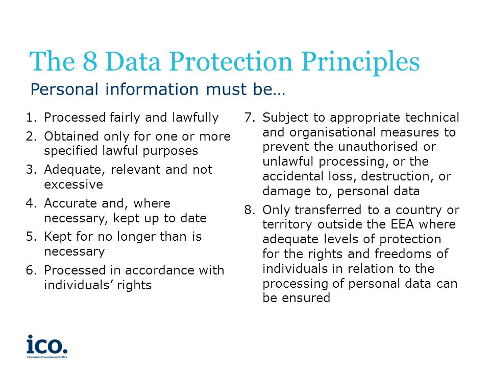 The 8 Data Protection Principles