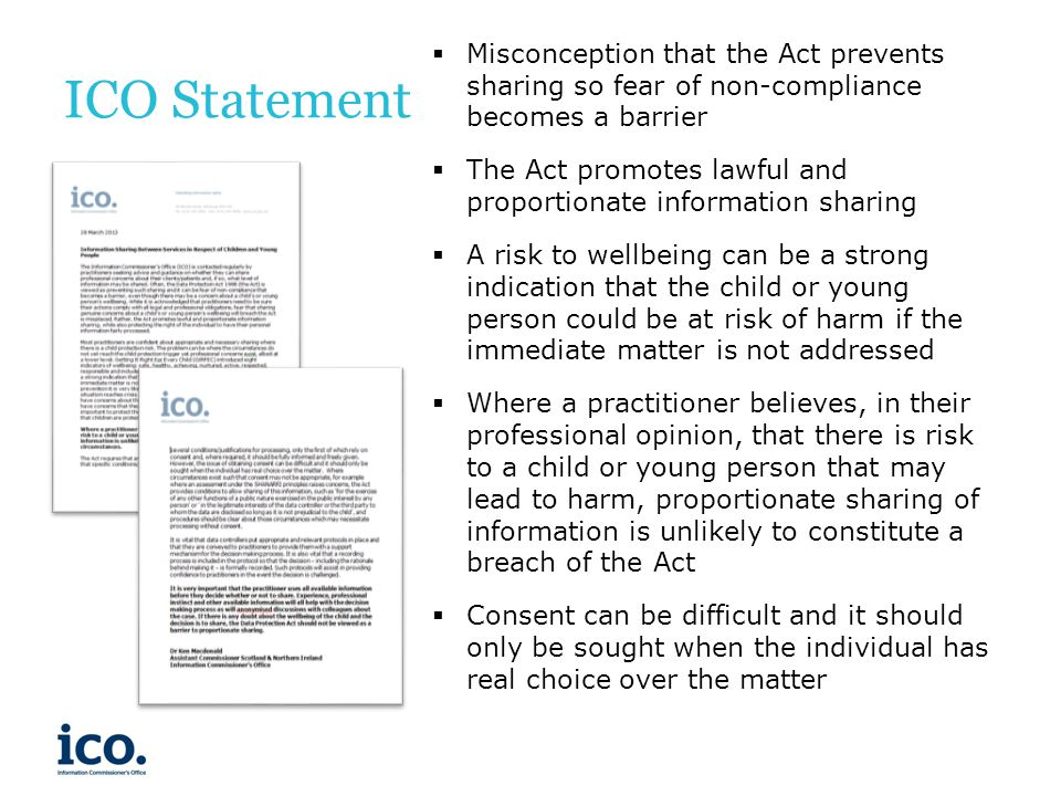 ICO Statement Misconception that the Act prevents sharing so fear of non-compliance becomes a barrier.