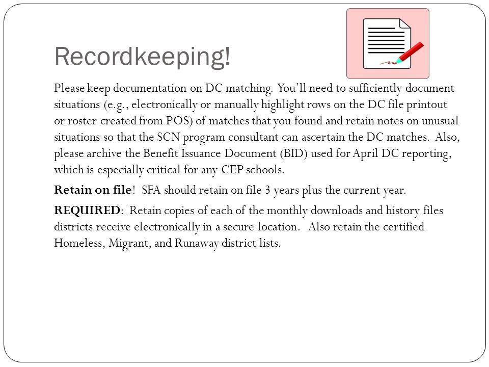 Recordkeeping!