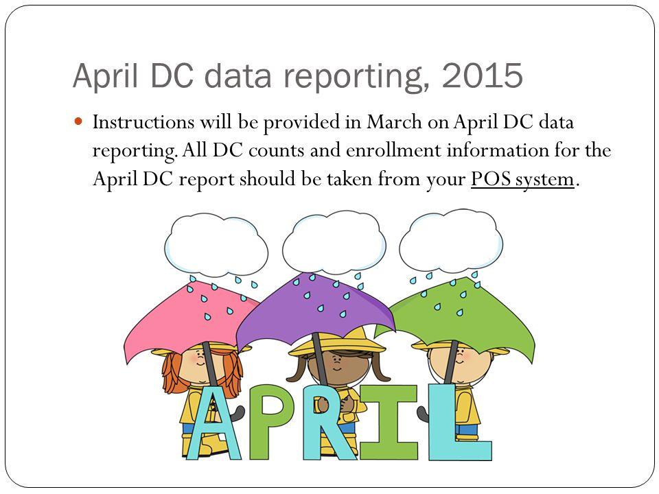 April DC data reporting, 2015